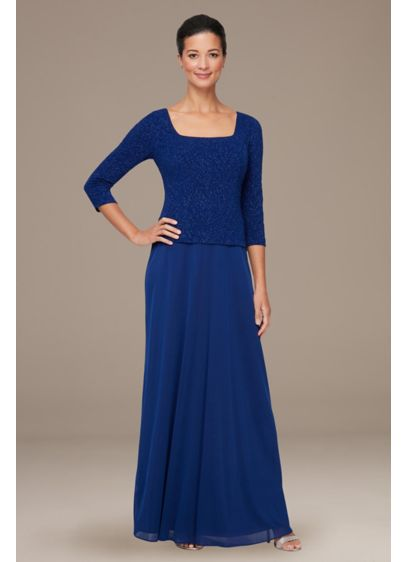 Mock Two-Piece Jacquard Knit Gown with U-Neck - A glittery stretch jacquard bodice with 3/4 sleeves