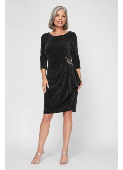 Short Sheath Long Sleeves Cocktail and Party Dress - Alex Evenings