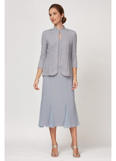 Tea Length Sheath Jacket Dress - Alex Evenings