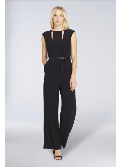 Long Jumpsuit Cap Sleeves Cocktail and Party Dress - Tahari ASL