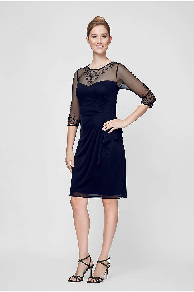 Beaded Neckline Illusion 3/4-Sleeve Sheath Dress - No necklace required when wearing this crystal-embellished illusion