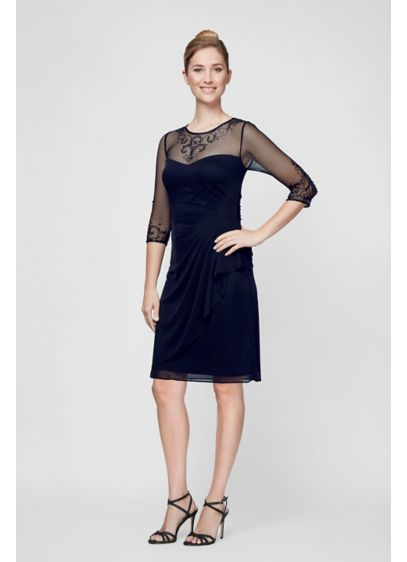 Short Sheath 3/4 Sleeves Cocktail and Party Dress - Alex Evenings