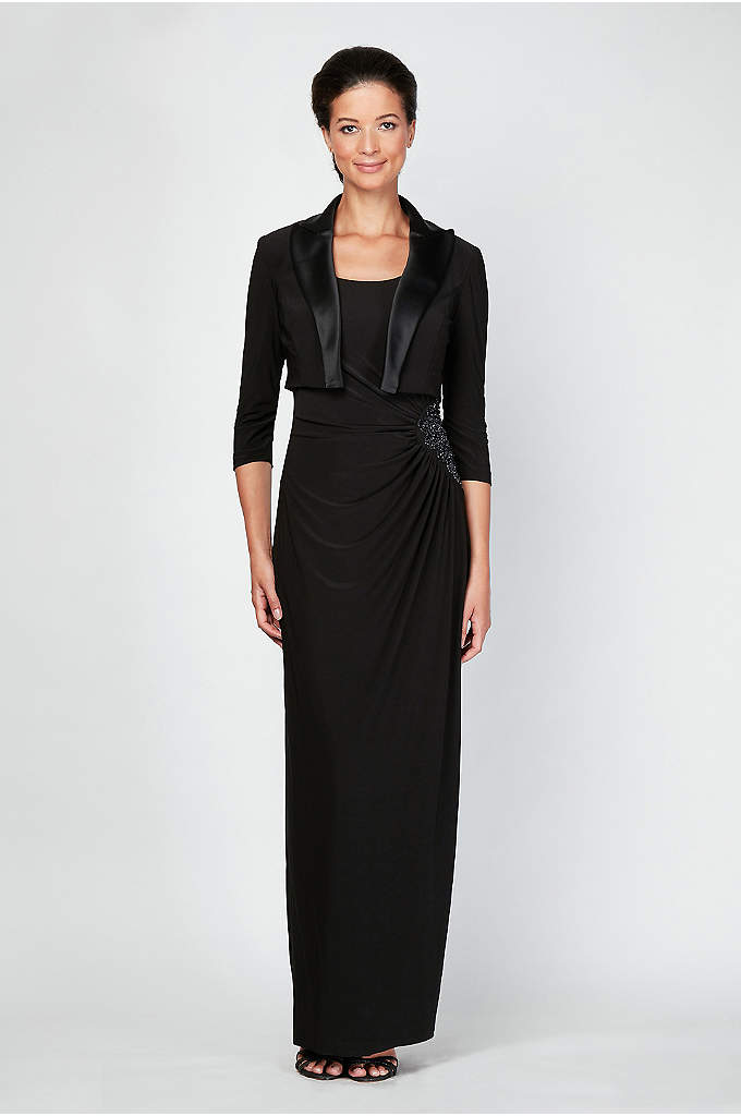 Beaded Jersey Tank Dress and Satin-Trimmed Jacket