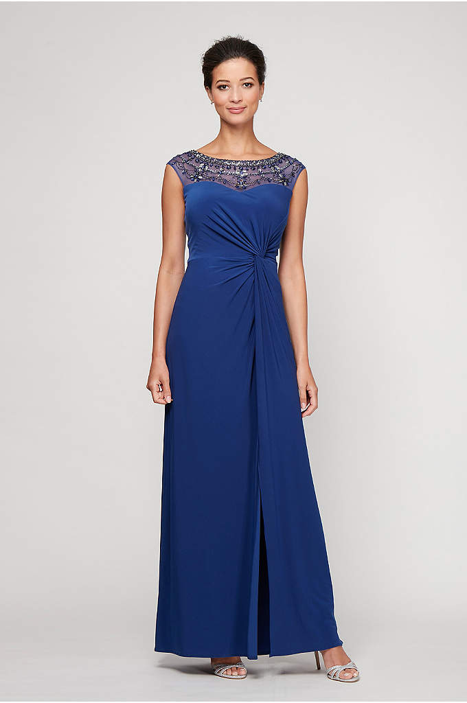 Beaded Illusion Neck Knotted Dress and Scarf - With its beaded illusion neckline, knotted bodice, and