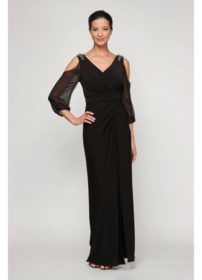 Knotted Cold Shoulder Matte Jersey Sheath Dress - Fashion forward details like crystal embellishments, sheer cold-shoulder