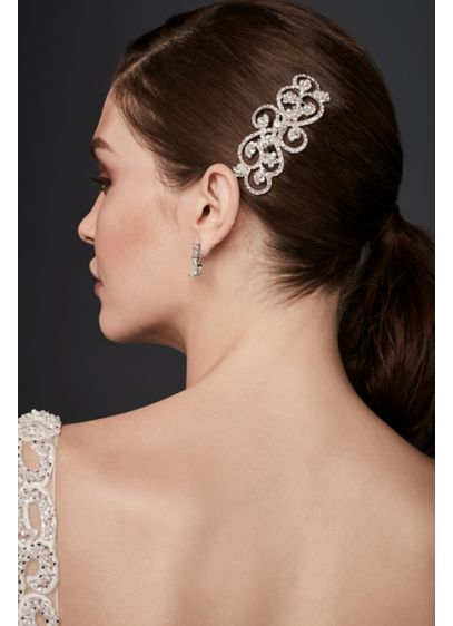 Swirling Crystal Filigree Comb - Wedding Accessories