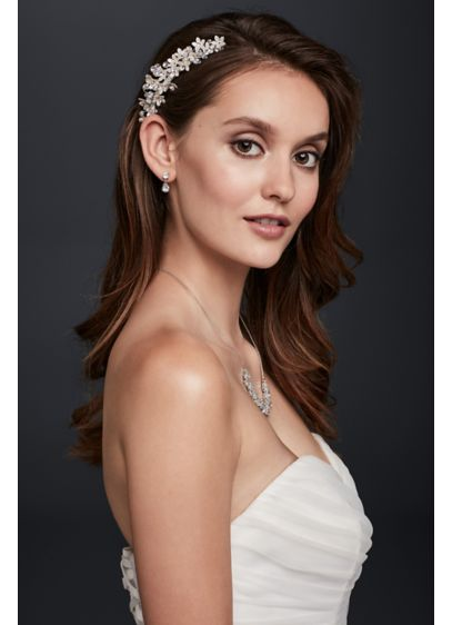 David's Bridal Grey (Dainty Crystal Flower Comb)