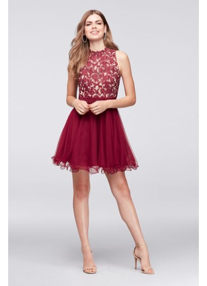 ebb408540f0 Embroidered Lace Mock-Neck Homecoming Dress. 8145AB3B. Short Ballgown  Halter Cocktail and Party Dress - City Triangles