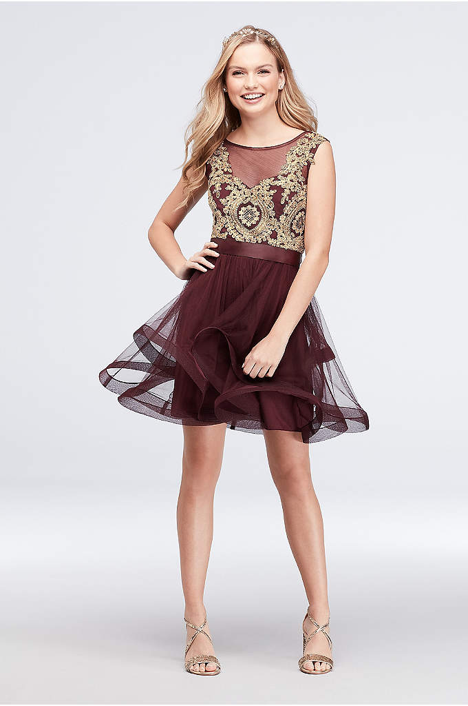 Mesh Fit-and-Flare Dress with Gold Applique Bodice - The illusion bodice of this short fit-and-flare dress