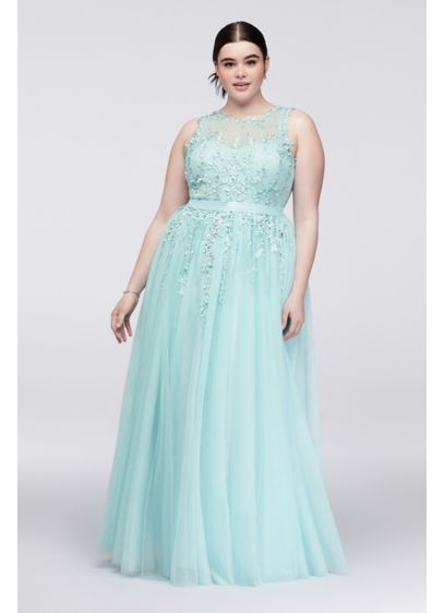 Illusion Bodice Plus Size Dress with Trailing Lace | David\'s ...