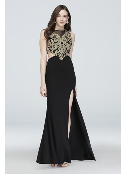 Illusion Embellished Brocade Gown with Cutouts - Ornate brocade embroidery embellishes the bodice of this