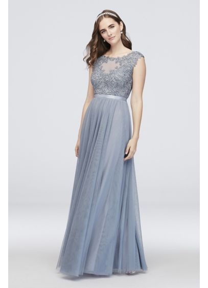 Floral Lace Mesh A-Line Ball Gown with Ribbon - This timeless ball gown features a floral lace