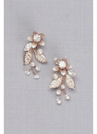 Jeweled Brushed Metal Flower Earrings - Wedding Accessories