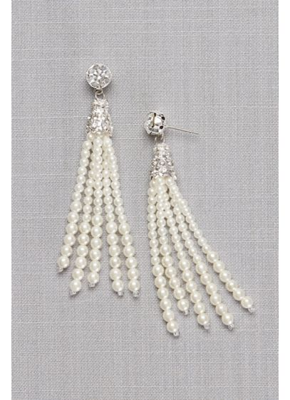 Ivory (Crystal Solitaire and Pearl Tassel Earrings)
