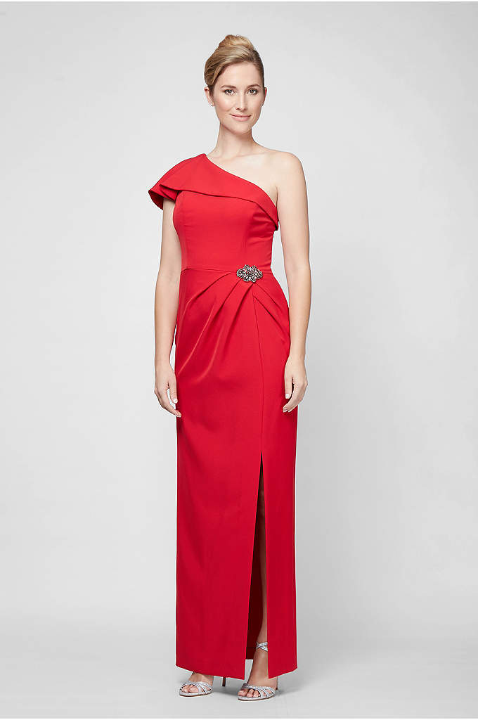 One-Shoulder Crepe Gown with Beaded Hip Detail - Glamorous and classic at once, this matte jersey
