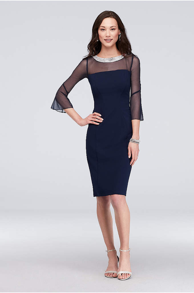 Beaded Collar Short Sheath Dress with Bell Sleeves - No necklace required when wearing this stunning crystal-collared