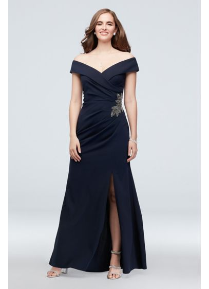 Embellished Leaf Off-the-Shoulder Gown with Slit - This gorgeous gown is the picture of elegance
