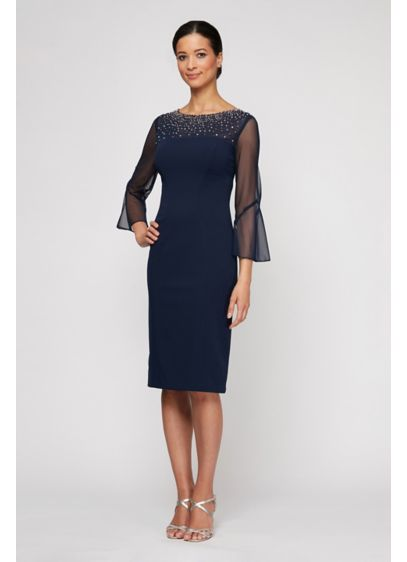 Beaded Neckline Sheath Dress with Illusion Sleeves - No necklace required when wearing this bead-embellished short