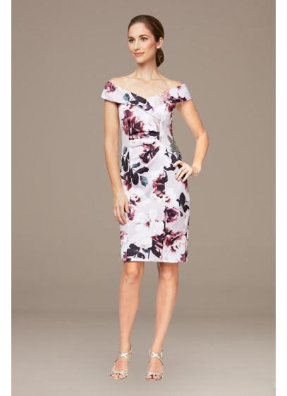 Short Sheath Off the Shoulder Cocktail and Party Dress - Alex Evenings