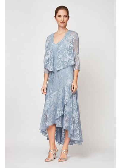 Floral Print Tulip Hem Dress and Shawl Jacket - Featuring a lustrous foil print, a V-neckline, and