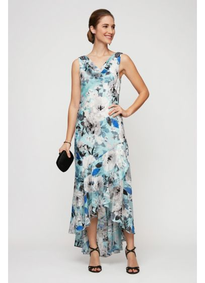 Long Printed Cowlneck Tulip Hem Sheath Dress - Gorgeous from every angle, this sleeveless high-low sheath