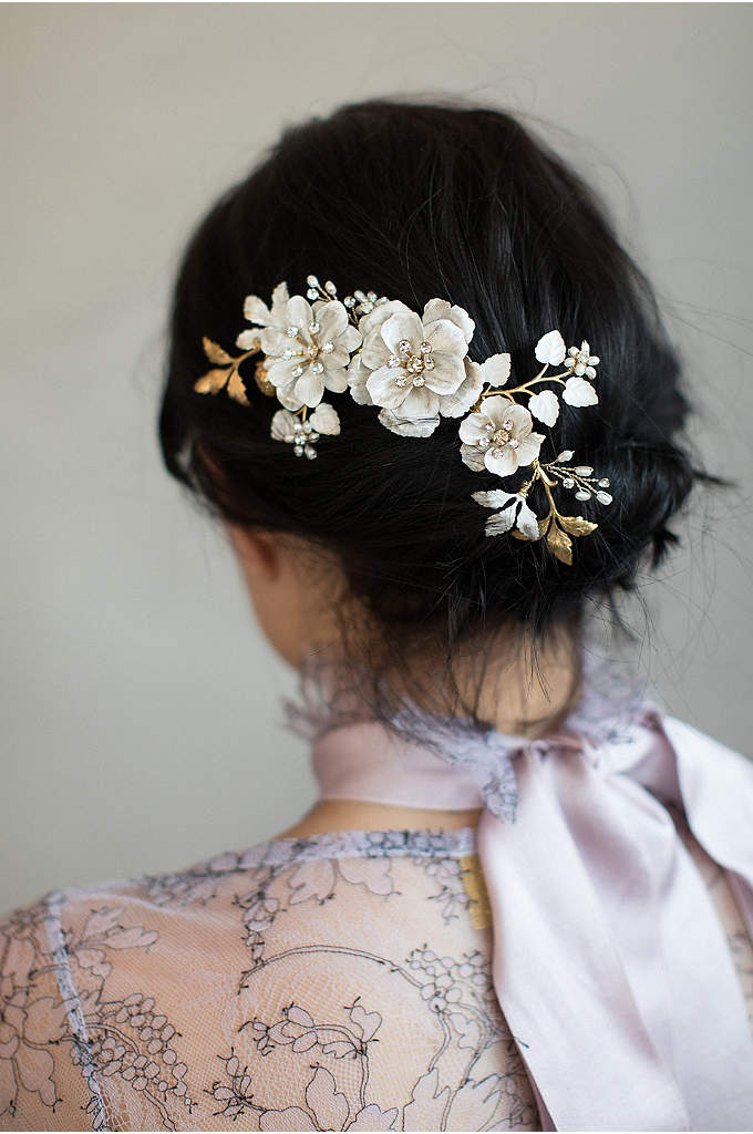 Brushed Enamel Floral Celebration Hair Comb - Swarovski crystals and freshwater pearls surround hand-enameled brass