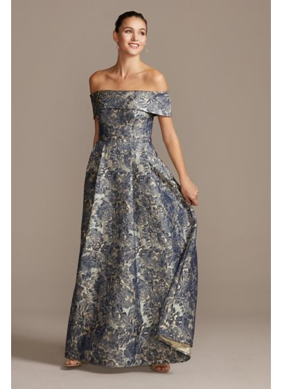 Off the Shoulder Fold Floral Jacquard Gown - This off the shoulder gown is covered in