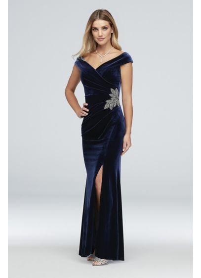 Off-the-Shoulder Velvet Gown with Beaded Detail - This luxe velvet off-the-shoulder gown is flatteringly pleated
