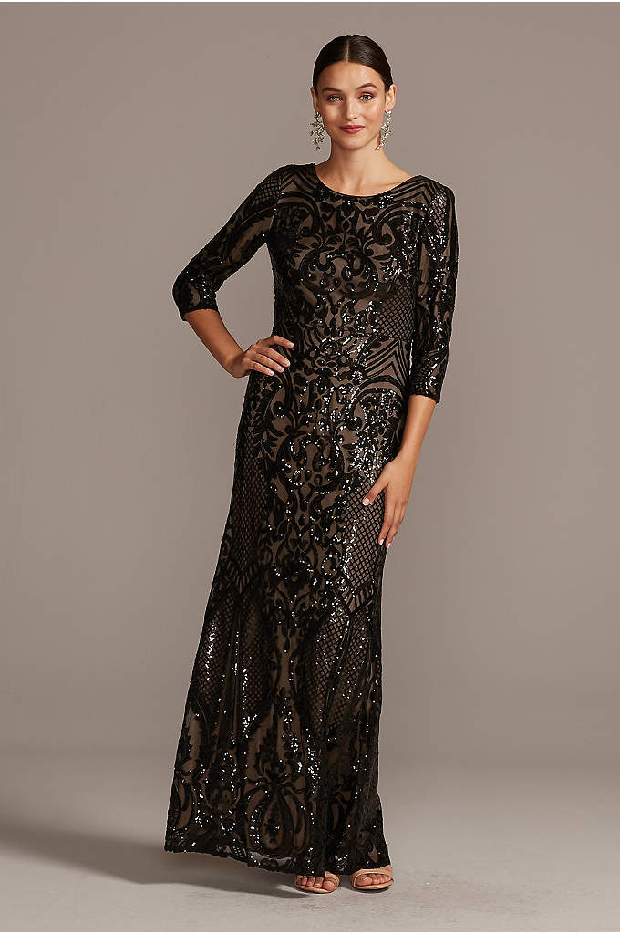 Sequin Brocade Embellished 3/4 Sleeve Dress