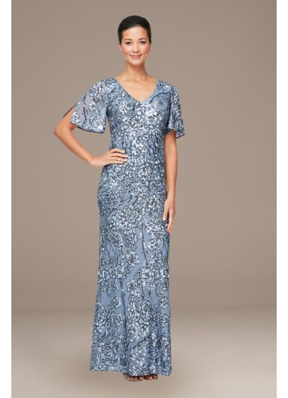 Long Sheath Short Sleeves Cocktail and Party Dress - Alex Evenings