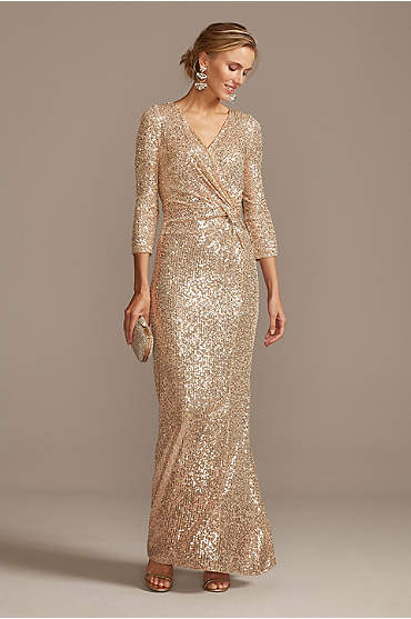 Sequin 3/4 Sleeve Wrap Front Dress with Twist