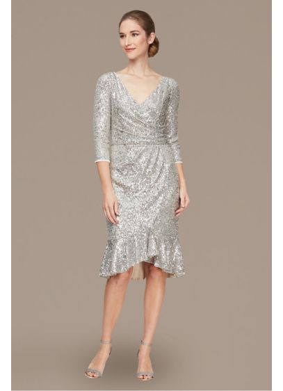 Short Sequin Dress with Sleeves and Skirt Flounce - This short stretch sequin dress will make you