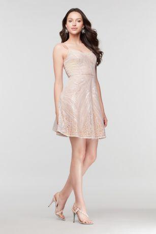 Short Ballgown Spaghetti Strap Dress - City Triangles