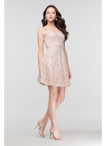 Brocade Sequin and Geometric Pattern Mini Dress - Steal the spotlight in this flirty, festive mini