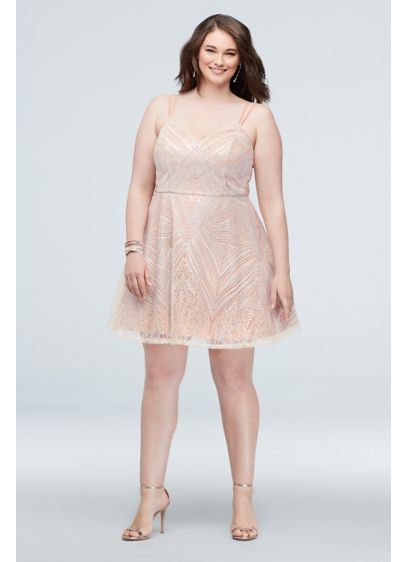 Brocade and Geometric Pattern Plus Size Mini Dress - Steal the spotlight in this flirty, festive plus-size