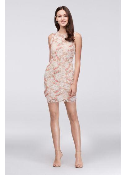 f91ef927c21ed Illusion Lace Dress with Blush Floral Appliques | David's Bridal