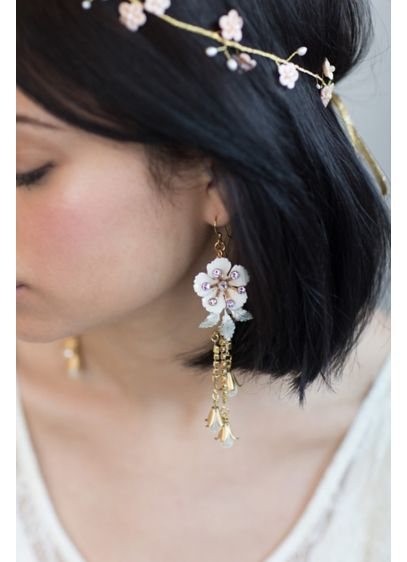 Dangling Dewdrop Enameled Earrings - Hand-enameled flowers, delicate chains, Swarovski crystals, and teardrop