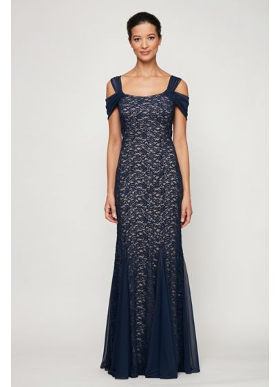 Off Shoulder Sequin Lace Petite Mermaid Gown - Romantic and sophisticated, this petite gown features a