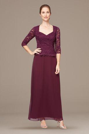 Long 3/4 Sleeves Dress - Alex Evenings
