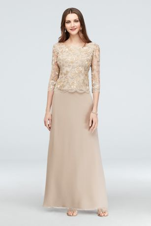 Filigree Lace and Tulle Long Soft Petite Gown | David\'s Bridal