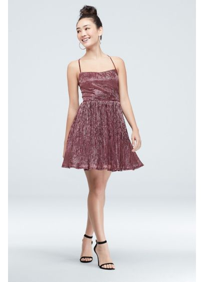 Metallic Crinkle Mini Dress with Lace Up Straps - Shimmer and shine in this fun crinkle metallic