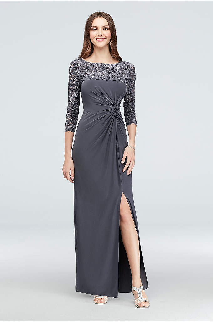 3/4-Sleeve Sequin Lace and Ruched Jersey Gown - Matte jersey gracefully twists into a figure-defining detail