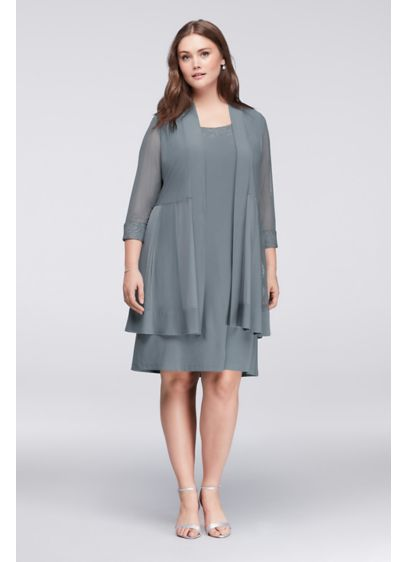 Petite Plus Size Scoop Neck Dress and Jacket