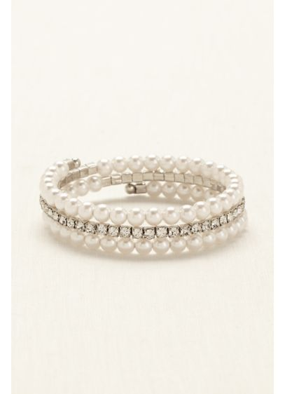 Pearl and Crystal Coil Wrap Bracelet - Wedding Accessories