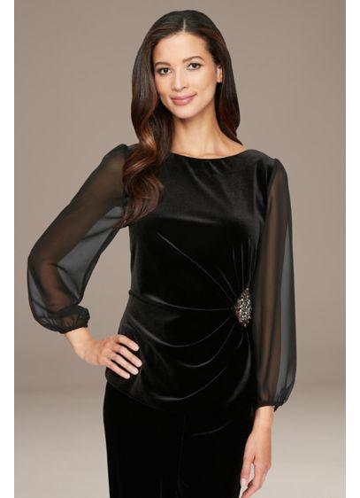 Illusion Sleeve Stretch Velvet Petite Blouse - Elegant and flattering, this stretch velvet blouse features