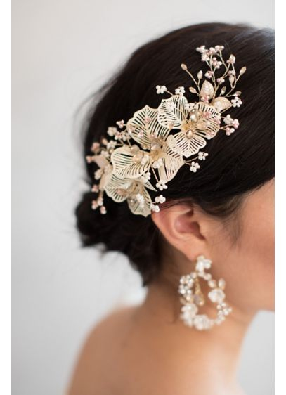 Blushing Cherry Blossom Burst Hair Clip - This whimsical hair clip features delicate wire lace