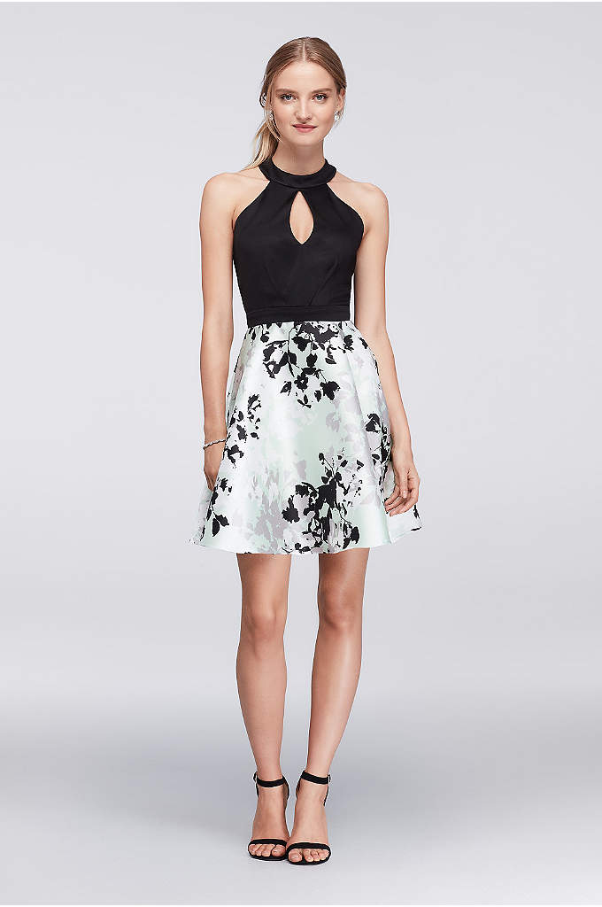 Fit-and-Flare Halter Dress with Printed Skirt - Soft pleats shape the jersey bodice of this