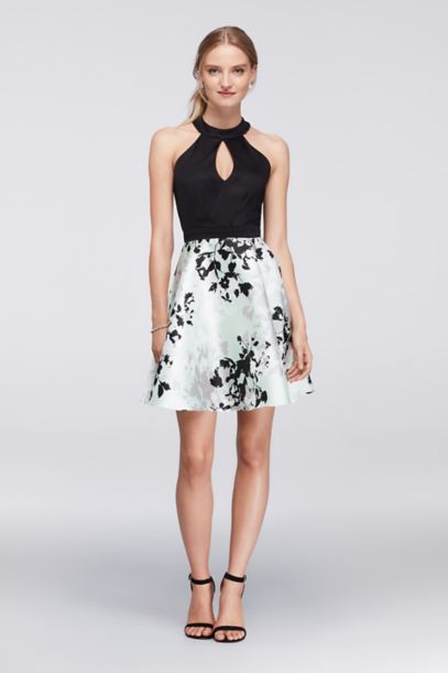Fit And Flare Halter Dress With Printed Skirt David S Bridal