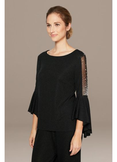 Metallic Knit Blouse with Beaded Illusion Sleeves - A stunning piece for your next big event,