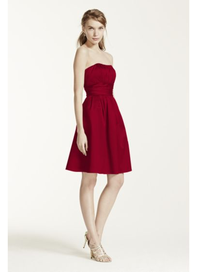 Cotton Sateen Short Strapless Ruched Dress - This short cotton sateen dress has flattering ruching